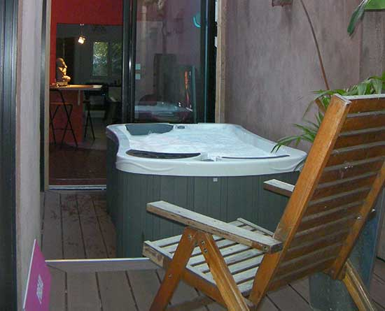 Serenity 2 Hot Tub in a back yard