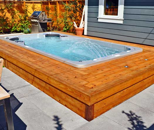 sunken in wooden deck