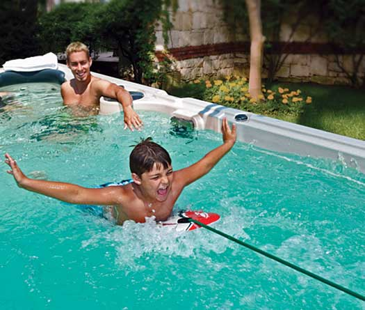 Boy sufring in pool