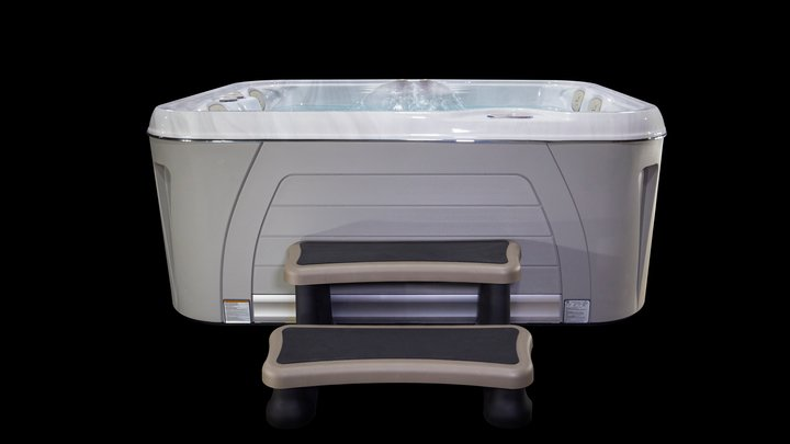 Serenity-4300-Hot-Tub-Front-View-With-Step--Harbor-Grey-Blk